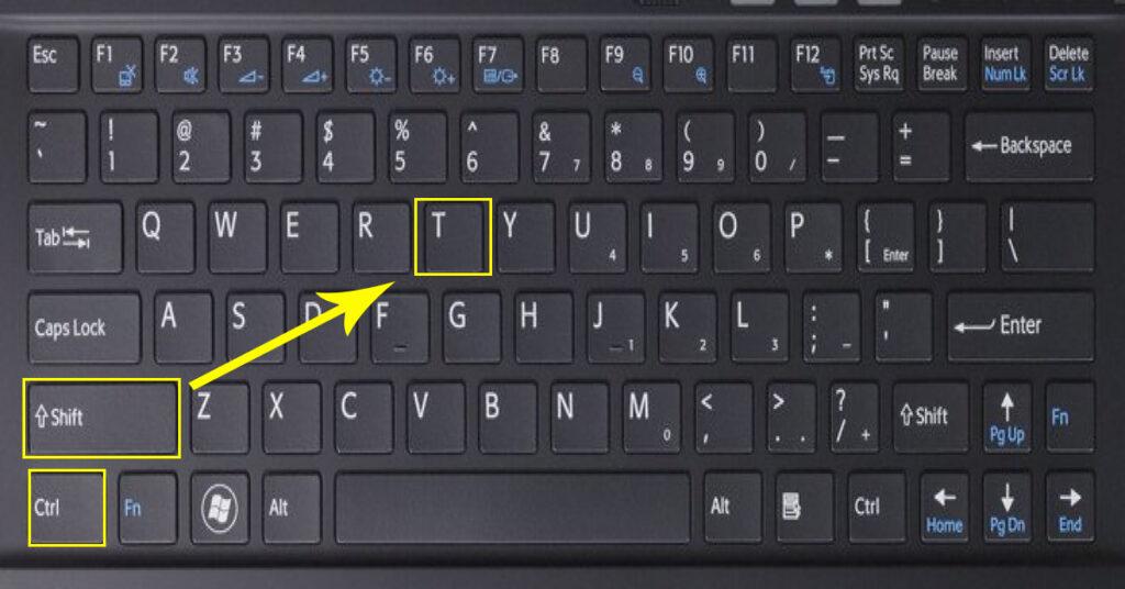 Сочетание клавиш для возврата вкладки